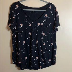 Torrid Black Heart Print T-Shirt